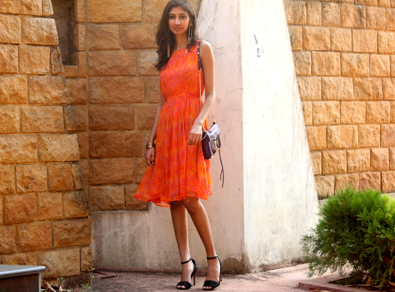 label ritu kumar, orange dress ritu kumar, summer dressing, indian fashion blogger, chandana munipalle the girl at first avenue, best indian fashion blog