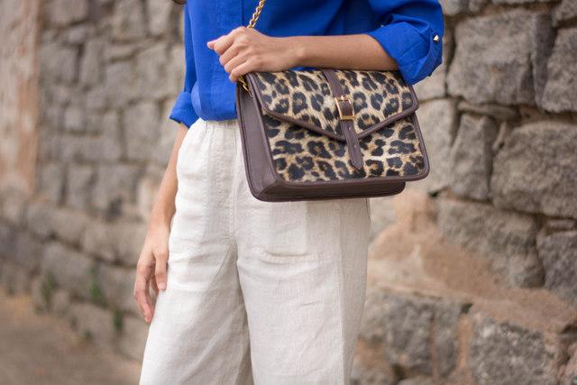 leopard print sling bag, animal print bag online india, stalkbuylove sling bag,linen culottes, culottes online india, indian fashion blogger, how to wear culottes, white culottes online india, top indian fashion blog, best indian fashion blog, hyderabad fashion blog