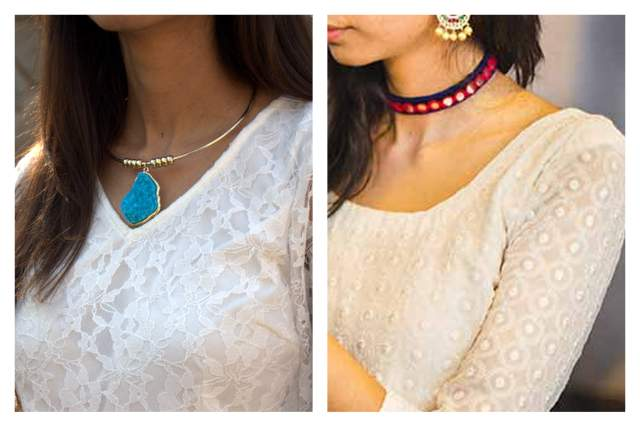 DIY choker necklaces, koovs choker necklaces online, koovs necklaces online, top indian fashion blog, best indian fashion blogger, hyderabad fashion blog