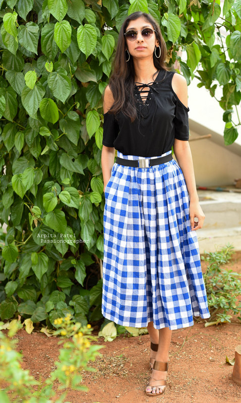 shein skirts online, shein gingham pleated skirt